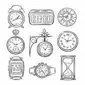 Sketch Clock. Doodle Watch, Alarm And Timer, Sand Clock Hourglass. Hand Drawn Time Vector Vintage Is poster