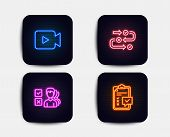 Neon Set Of Survey Progress, Opinion And Video Camera Icons. Checklist Sign. Algorithm, Choose Answe poster