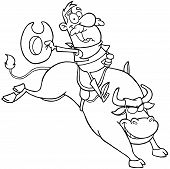 stock photo of bull-riding  - Outlined Cowboy Riding Bull In Rodeo Cartoon Character - JPG