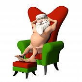 Santa Flashing In Chair