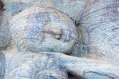 Closup Head Reclining Buddha Statue Polonnaruwa H