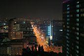 Brightly Lit Street In Night City, Kyiv