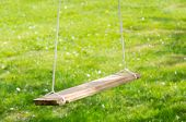 Empty Wooden Garden Swing