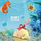 Baby shower with sleeping sweet newborn mermaid