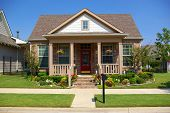stock photo of idealistic  - Idealistic single family American home - JPG