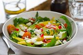Mango with Pomegranate,Feta and Rocket salad