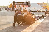 Top Fuel Dragster Leaving Pit