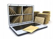 stock photo of telegram  - Laptop and many mail  - JPG