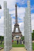 Parisians And Tourists On Lawn Champs De Mars In Paris