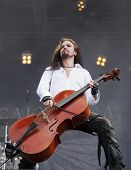 Finnish heavy metal cello band Apocalyptica performs live on stage