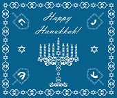Chanukah Holiday Background With Dreidels And Khanukiyah, Vector Illustration