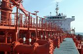 pic of lng  - Pipes on the deck of the tanker grude oil ship - JPG