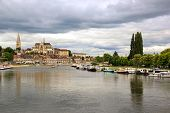 River banks Yonne, threatening sky, Auxerre  Burgundy France