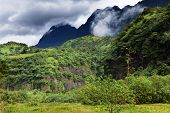 Tahiti mountains. Tropical nature.