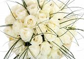 A Huge Bouquet Of White Roses. The Isolated Image On A White Background. Cream Colored Roses.