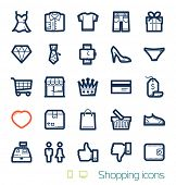 stock photo of trolley  - Shopping icons set Perfect lines - JPG