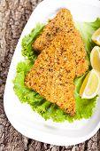 Fish dish. Fried fish fillet