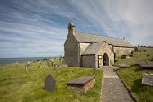 stock photo of anglesey  - Llanbadrig church on a sunny day, Anglesey Wales