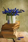 Bouquet Hyacinth Flowers Books Vintage Wooden
