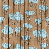 clouds on wood