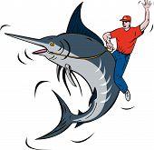 Fisherman Riding A Blue Marlin