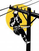 Power Lineman On Pole