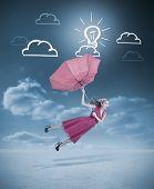 Постер, плакат: Glamour Женщина полет с красный зонт по чертежам облаков и лампочки