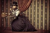 stock photo of post-apocalypse  - Portrait of a beautiful steampunk woman over vintage background - JPG