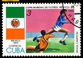 Vintage  Postage Stamp.  World  Cup Soccer In Mexico. 1970.
