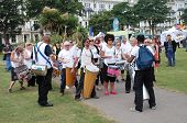 ST.LEONARDS-ON-SEA, ENGLAND - JULY 13: The Dende Nation samba drum troupe perform at the St.Leonards