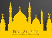 Muslim community festival Eid Al Fitr (Eid Mubarak) with illustration of mosque on grey background.