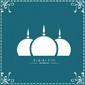 Muslim community festival Eid Al Fitr (Eid Mubarak) concept with mosque design in blue floral decora