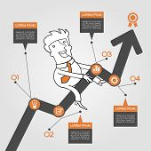 Businessman graph up. Infographics  success. Presentation of business growth