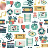 image of popcorn  - seamless pattern with flat movie icons - JPG