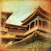 pic of lamas  - Beautiful view of the Lama temple in Beijing China - JPG