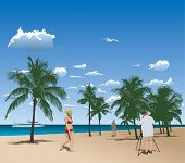 Tourists In Tropical Beach poster