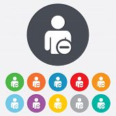 Delete user sign icon. Remove friend symbol.