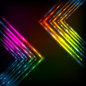 Shining neon arrows abstract vector background