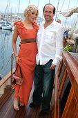 Alexandra Fulton and Max Gottlieb  at the Cedar Lane Yacht Party. Cedar Lane Yacht, Cannes, France.