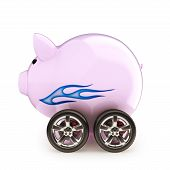 Piggy bank with wheels on a white back ground
