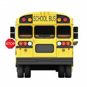 pic of flashers  - School bus rear view with a white background - JPG