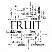 Fruit Word Cloud Concept In Black And White