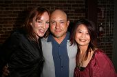 Jenny Mcshane with Kyle T. Heffner and Serena Guam  at the party celebrating the opening night of th