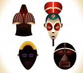 picture of african mask  - Set of four african masks - JPG