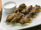 Cooked Chicken Wings On Plate