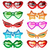 Sunglasses set. Vector icons