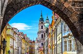 stock photo of bohemia  - View of colorful old town in Prague taken from Charles bridge Czech Republic