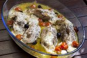 stock photo of kalamata olives  - Chicken breasts stuffed with sheep cheese - JPG