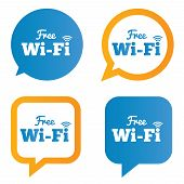 Wifi speech bubbles. Free wifi symbols. Wireless.