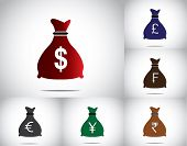 Colorful Money Bag Set Collection With Different Currencies - Dollar Pound euro yen francs rupees